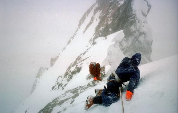 Doug Scott and Chris Bonington (left) crawling down the Ogre ©Doug Scott