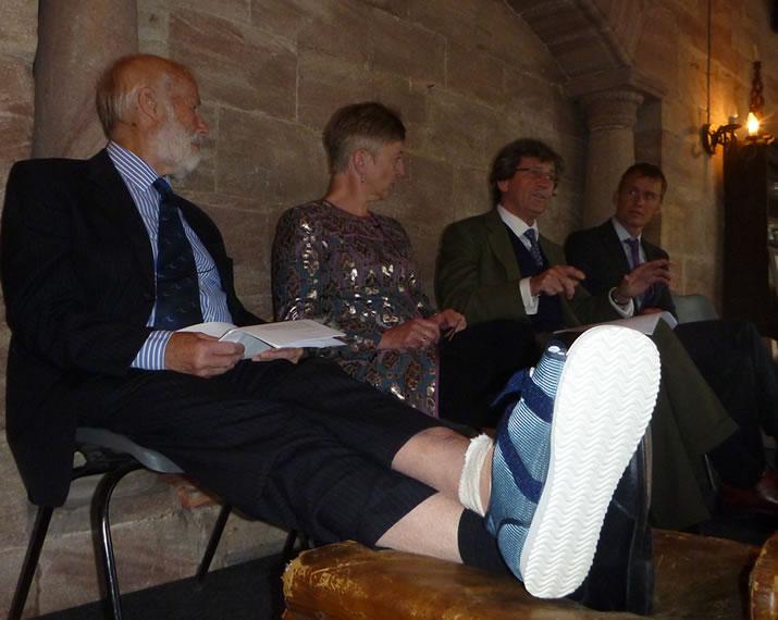 l-r: Chris Bonington, 28 hours after having a toe amputated, Julie Summers, Melvyn Bragg and Leo Houlding