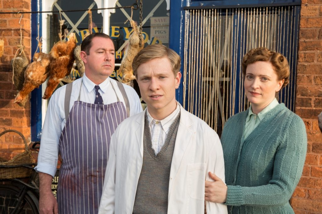 HOME FIRES EPISODE 1 Pictured: CLAIRE PRICE as Miriam Brindsley, DANIEL RYAN as Bryn Brindsley and WILL ATTENBOROUGH as David Brindsley. Photographer: STUART WOOD This image is the copyright of ITV and must be credited. The images are for one use only and to be used in relation to Home Firs, any further charge could incur a fee.