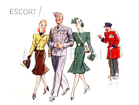 WW2 Christmas card, Escort! A Chelsea Pensioner looks in admiration at an RAF airman with an elegant woman on each arm. 1941