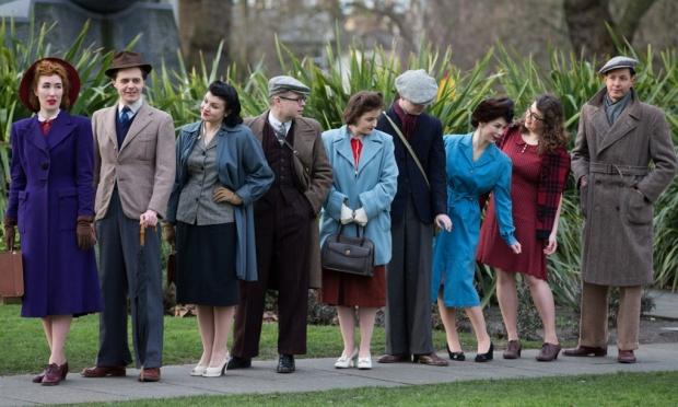 Wartime clothes modelled outside Imperial War Museum, London, March 2015